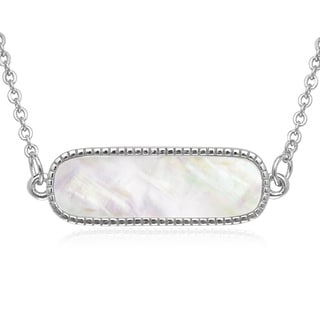 La Preciosa Sterling Silver Mother of Pearl Bar Necklace