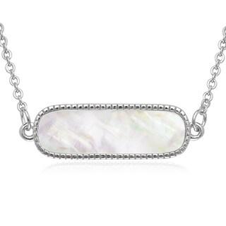 La Preciosa Sterling Silver Mother of Pearl Bar Necklace