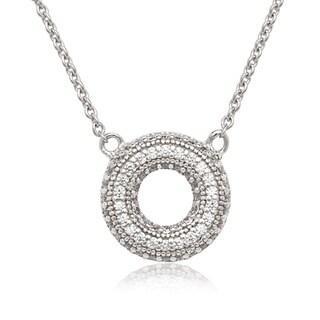 La Preciosa Sterling Silver Micropave Cubic Zirconia Open Necklace