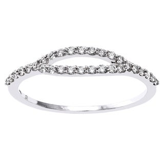 Beverly Hills Charm 10k Gold 1/4ct TDW Diamond Anniversary Stackable Open Ring