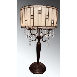 Savannah 3-Light Tiffany-style with Crystal 14-inch Table Lamp