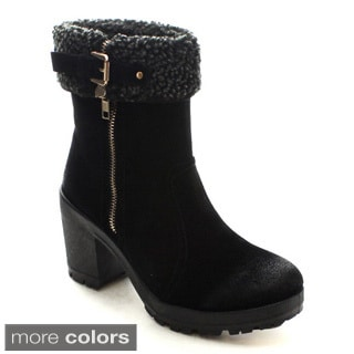 Bellamarie Tenesee-17 Women's Side Zip Buckled Lug Sole Faux Fur Snow Boots