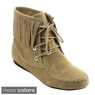 Jacobies Lava-6 Women's Sassy Lace Up Moccasin Fringe Ankle Booties