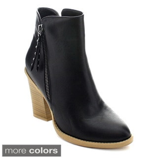 Wild Diva Dominic-25 Women Fashion Stacked Chunky Heel Side Zipper Ankle Booties
