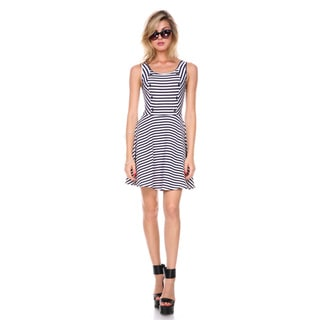 Stanzino Women's A-line Button Accents Striped Dress