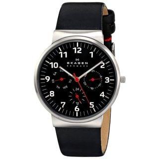 Skagen Men's Ancher Multifunction Black Dial Black Leather Watch