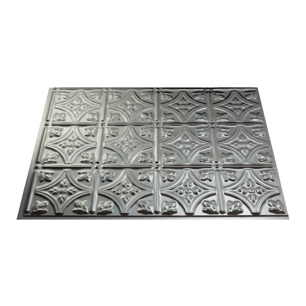 Fasade Traditional Style 10 Brushed Aluminum 18 In X 24: Wall Tiles For Less
