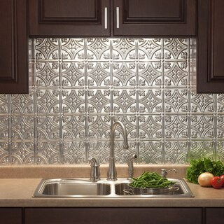 Fasade Traditional Style #1 Brushed Aluminum 18-inch x 24-inch Backsplash Panel