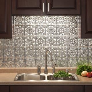 Fasade Traditional Style #1 Brushed Aluminum 18-inch x 24-inch Backsplash Panel