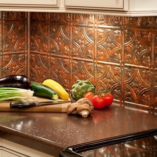 Fasade Traditional Style #1 Copper Fantasy 18-inch x 24-inch Backsplash Panel (1 Sheet)