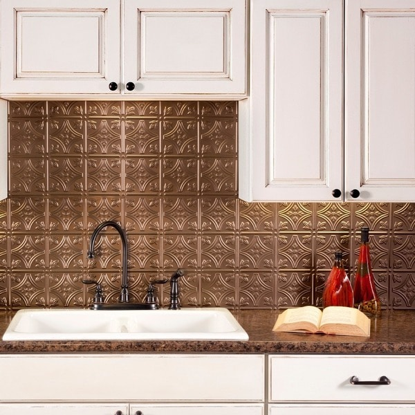 Fasade Traditional Style 10 Brushed Aluminum 18 In X 24: Shop Fasade Traditional Style #1 Argent Bronze Backsplash