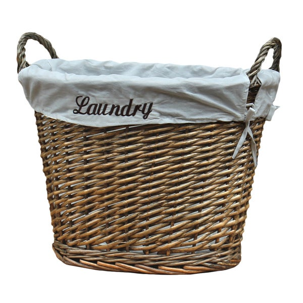 shop wicker laundry basket with white liner free shipping today 10336141. Black Bedroom Furniture Sets. Home Design Ideas