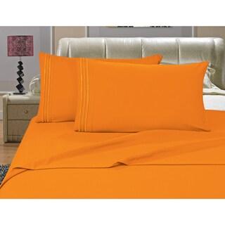 Porch & Den Briggs Deep Pocket Bed Sheet Set (Orange - King)