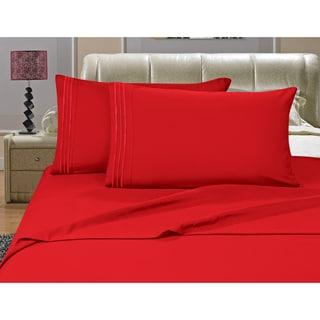 Porch & Den Briggs Deep Pocket Bed Sheet Set (Red - California King)