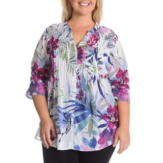 La Cera Women's Plus Size Printed Tunic Style Button Down Top