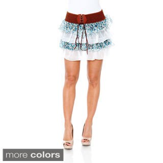 White Mark Women's Ruffle Trim Mini Skirt