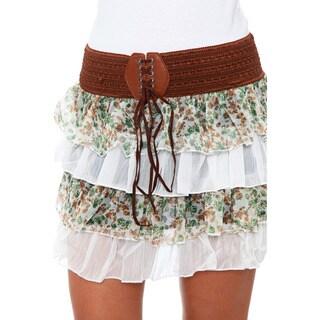 White Mark Women's Ruffle Trim Mini Skirt
