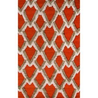Flatweave Geometric Pattern Apricot Orange/Pumice Stone Wool (5x8) Area Rug