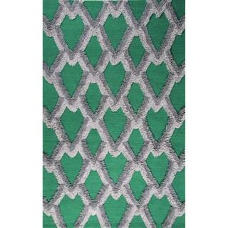 Flatweave Geometric Pattern Deep Jungle/Lunar Rock Wool (5x8) Area Rug