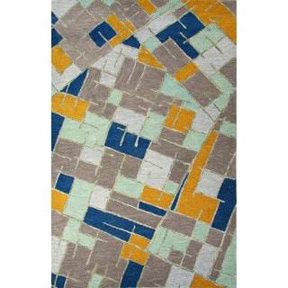 Hand-Tufted Geometric Pattern Elephant skin/Tinsel Wool (5x8) Area Rug