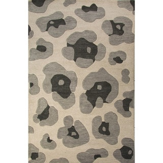 National Geographic Hand-Tufted Animal Pattern Oyster gray/String Wool (5x8) Area Rug