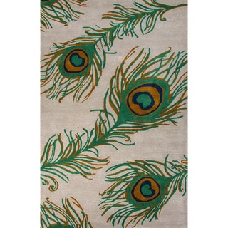 Hand-Tufted Animal Pattern Rainy days/Deep jungle Wool (5x8) Area Rug