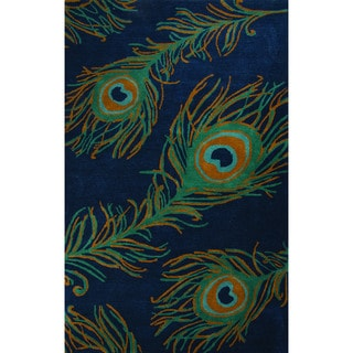 National Geographic Hand-Tufted Animal Pattern Blueashes/Bayou Wool (2x3) Area Rug (India)