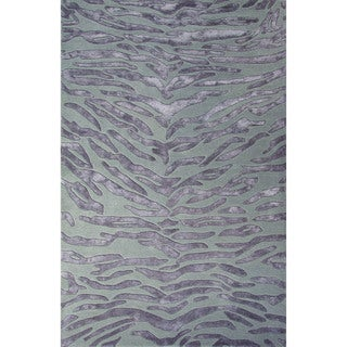 Hand-Tufted Animal Pattern Oystergray/Simply taupe Wool (2x3) Area Rug (India)