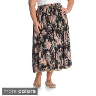La Cera Women's Plus Size Reversible Floral Printed A-Line Skirt|https://ak1.ostkcdn.com/images/products/10336373/P17446365.jpg?impolicy=medium