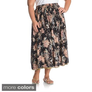 La Cera Women's Plus Size Reversible Floral Printed A-Line Skirt