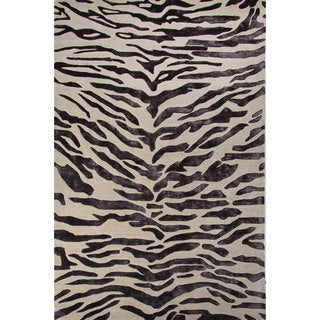 National Geographic Hand-Tufted Animal Pattern Oyster gray/Plum kitten Wool (5x8) Area Rug