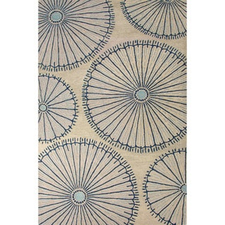 National Geographic Hand-Tufted Geometric Pattern Fog/Ensign blue Wool (5x8) Area Rug