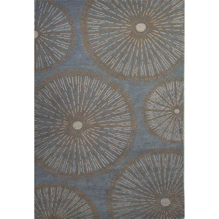 National Geographic Hand-Tufted Geometric Pattern Wild dove/Curry Wool (5x8) Area Rug