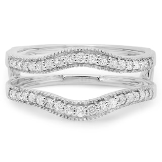 Elora 14k White Gold 2/5ct TDW Diamond Anniversary Wedding Enhancer Guard Double Ring (H-I ,I1-I2)