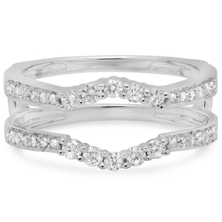 Elora 14k White Gold 2/5ct TDW Diamond Wedding Enhancer Guard Double Ring (H-I, I1-I2)