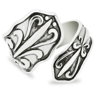 Silver-Wear Swirls Sterling Silver Antique Finish Floral Pattern Motif Spoon Ring