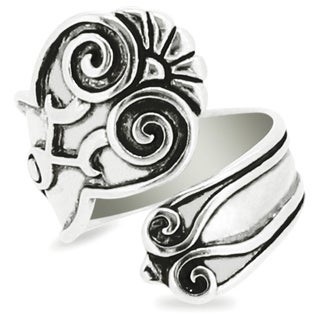 Silver-Wear Swirls Sterling Silver Antique Finish Coiled Floral Pattern Spoon Ring