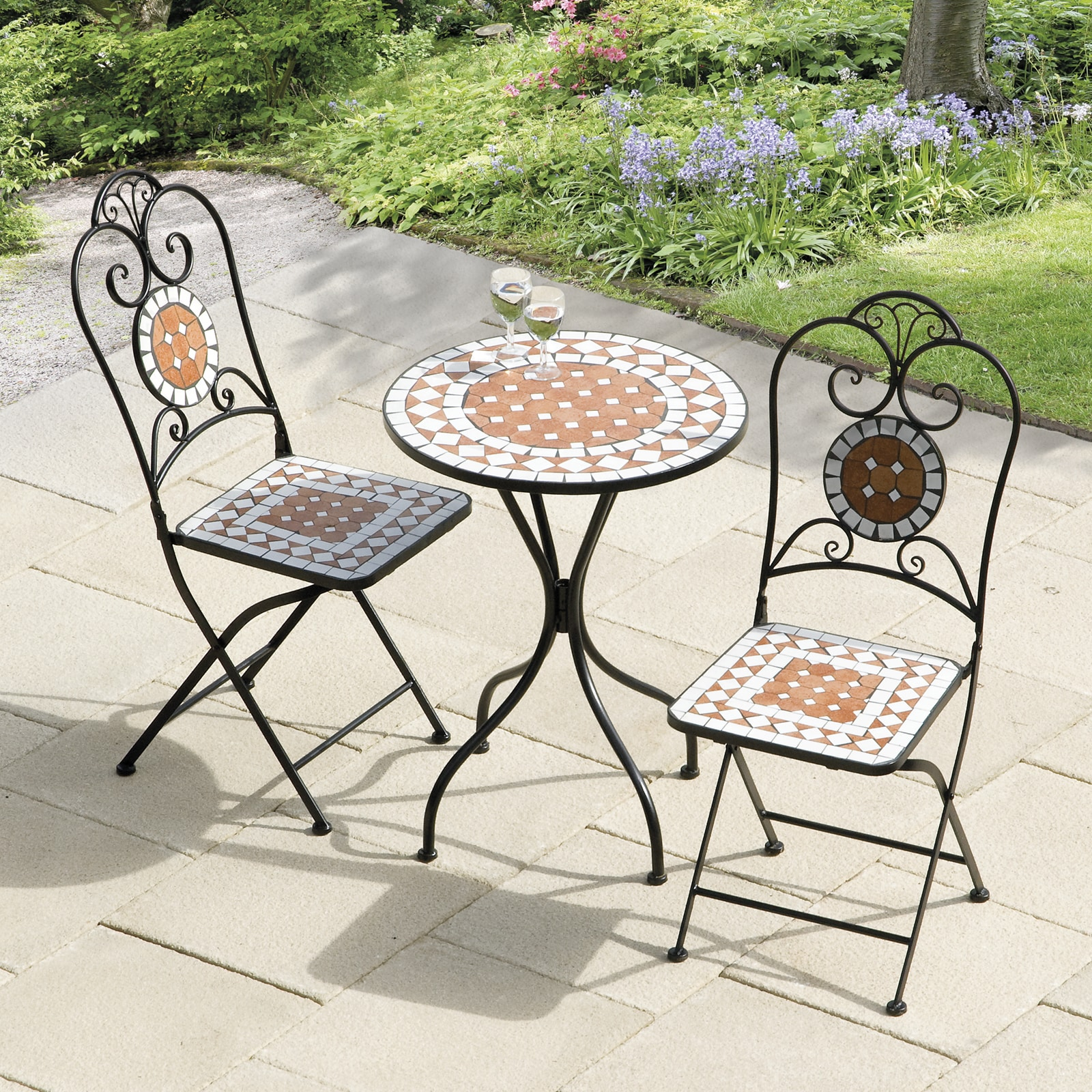 Copper Grove Bravo Diamond 60cm Mosaic Cast Iron Bistro Set