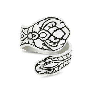Silver-Wear Swirls Sterling Silver Antique Finish Efflorescent Inspired Spoon Ring