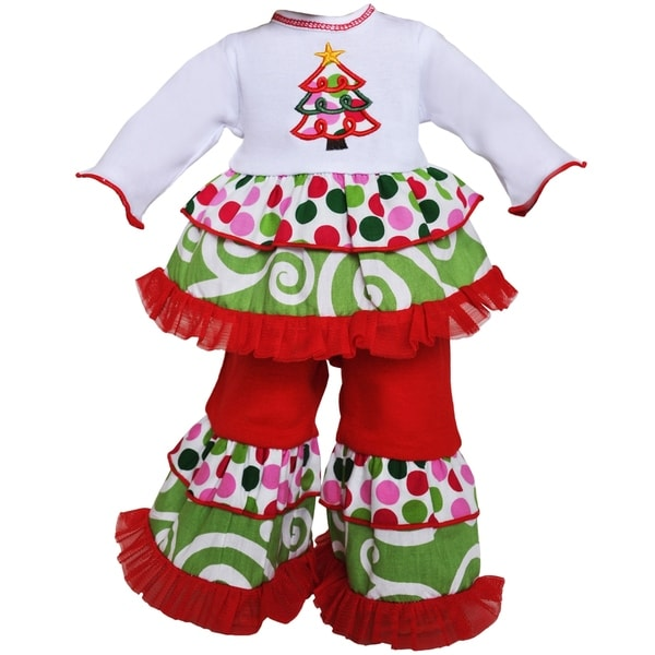 AnnLoren 2-piece Polka Dot and Swirls Christmas Tree Holiday Doll Outfit