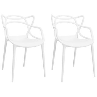 Porch & Den Baylor Contemporary Stackable Plastic Loop Dining Arm Chair (Set of 2)