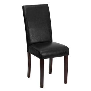 Porch & Den Stonehurst Ashton Leather and Mahogany Parsons Dining Chair (Option: Black)