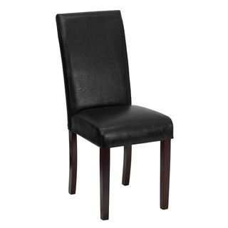 Parsons Leather and Mahogany Wood Chair