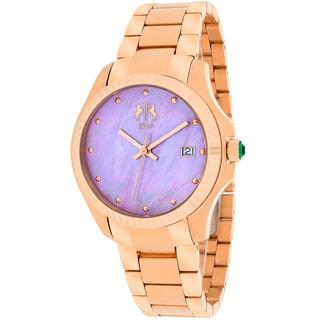 Jivago Women's JV3213P Jolie Round Rose Gold-tone Stainless Steel Bracelet Watch
