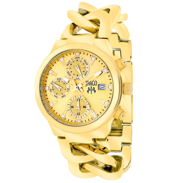 Jivago Women's JV1242 Lev Mini Round Goldtone Stainless Steel Bracelet Watch