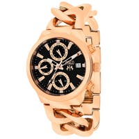 Jivago Women's JV1243 Lev Mini Round Rose Gold-tone Stainless Steel Bracelet Watch