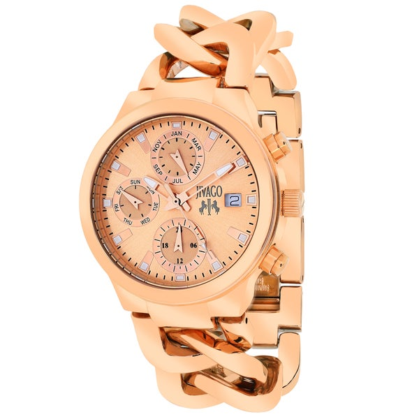 Jivago Women's JV1244 Lev Mini Round Rose Gold-tone Stainless Steel Bracelet Watch