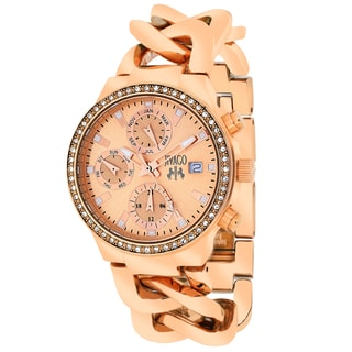 Jivago Women's JV1247 Lev Mini Round Rose Gold-tone Stainless Steel Bracelet Watch