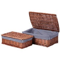 Lined Wicker Storage Shelf Baskets With Lids, Set of 2