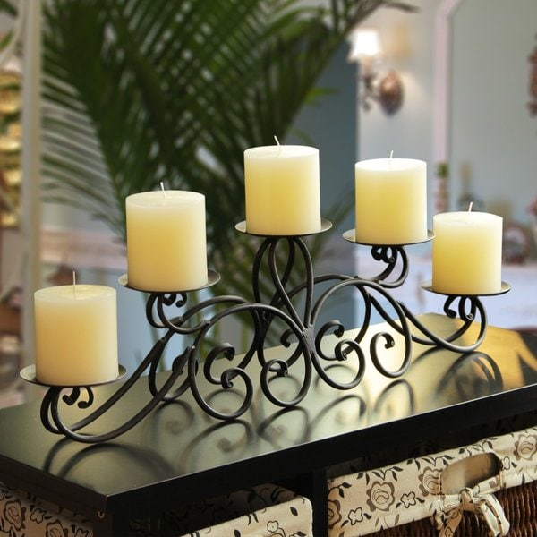 Adeco 5 pillar Iron Table Top Candle Holder Free